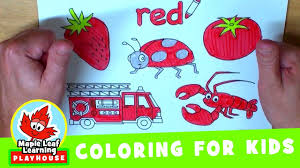 red coloring page for kids maple leaf learning playhouse youtube
