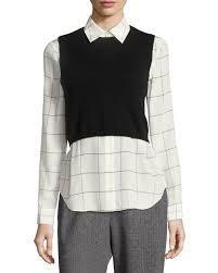 black sweater vest lucinda combo cropped sweater vest w shirt