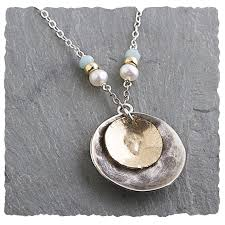 Disc Necklace Amazonite Neckalce Collection Hammered And Oxidized Sterling