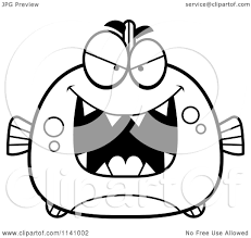 cartoon clipart of a black and white sly piranha fish vector