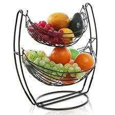 metal fruit basket black hammock 2 tier fruit vegetables
