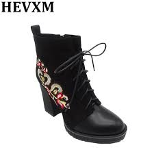 comfortable motorcycle riding boots hevxm women embroider ankle boots fashion woman high square heels