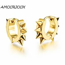 stud earrings for men amourjoux style rivet gold white black stainless steel