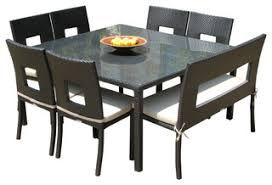 6 Chair Patio Dining Set Outdoor 8 Piece Dining Set Espresso And Ivory Contemporary