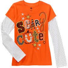 girls u0027 scary cute halloween long sleeve shirt walmart com