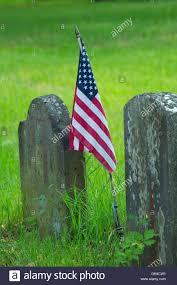 American Flag On Ground Gravestone With American Flag Memento Mori Burying Ground Stock