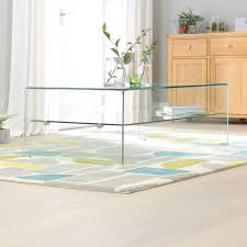geo glass rectangular coffee table with shelf