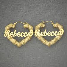 name earrings 10k yellow gold heart bamboo personalized name earrings 1 1 2 inch