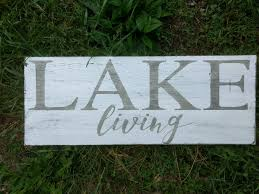 lake house sign decor cottage rules lake living wooden sign