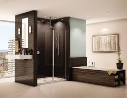 bathroom walkin shower small spaces dark orange futuristic shower