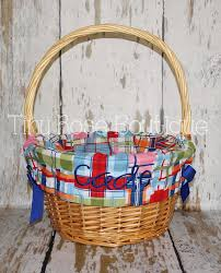 personalized easter basket liners personalized easter basket liner madras plaid by tinyroseboutique