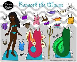 printable paper doll beneath the waves