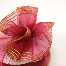 pull ribbon maple craft sheer organza pull up ribbon with gold edge 1 5