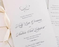 classic wedding programs classic wedding program with ribbon catholic wedding program