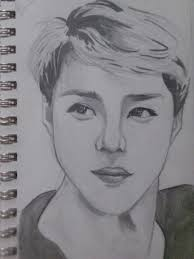 my drawing of sehun finally finished all of exo omfg im free my