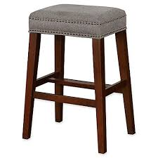 linon home decor products inc walt walnut gray bar stool linon home walt stool in grey walnut bed bath beyond