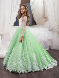 kids wedding dresses applique flower girl dresses lace princess pageant dresses kids