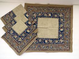 autumn harvest table linens anne klein designer napkins set of 4 blue rust tan paisley