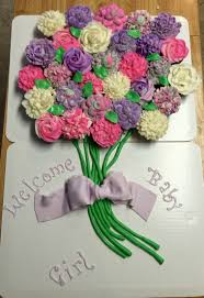cupcake pull apart cake flower bouquet cake baby shower for