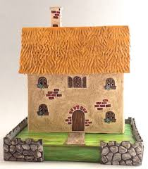 with glue and glitter summer country putz cardboard house