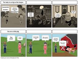comic strip for simile and metaphor storyboard