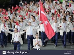 Ceremony Flag Flag Bearer Heykel Megannem Of Tunisia Leads The Team Into The