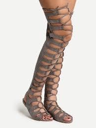 grey lace up thigh high gladiator sandals shein sheinside