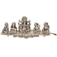 Online Home Decor Shopping In India by Shop Little India Ganesha On Banana Leaf White Metal Pooja Idol