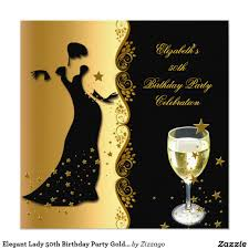 Invitation Cards For Birthday Party For Adults Elegant Lady 50th Birthday Party Gold Black Wine Card 50