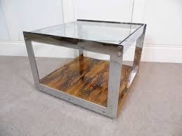 Glass Coffee Table With Wheels Vintage Designer Merrow Associates Rosewood Chrome And Glass
