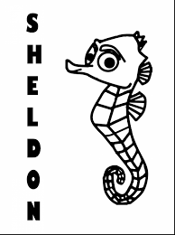 stunning seahorse finding nemo characters coloring pages with