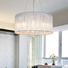 modern drum pendant lamp light chandelier crystal fabric ceiling