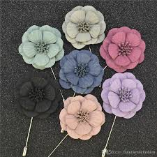 Boutineer Flowers Fabric Flower Brooches Handmade Boutonniere Sick With Silk Flowers