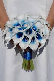 Wedding Flowers Blue And White Artificial Bridal Wedding Bouquet With Blue Centred White Picasso