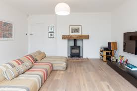 Open Seating Living Room Wood Burner Oak Lintel Timber Floor Open Plan Seating