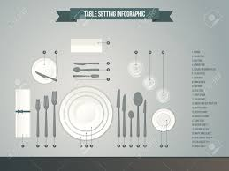 Formal Table Setting Diagram Table Setting Infographic Vector Illustration Of Dinner Place