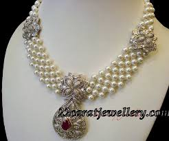 white pearls necklace designs images Pearl necklace with white gold diamond pendant jewellery designs jpg