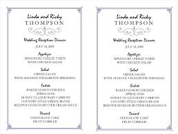 menu template wedding engagement menu template