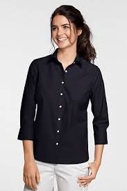 womens no iron blouses s 3 4 sleeve no iron stretch shirt from lands end navy