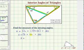 Measures Of Interior Angles Ex 2b Find The Measure Of An Interior Angle Of A Triangle Youtube