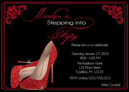 Personalized Birthday Invitation Cards Red Glitter Shoes Birthday Invitation U2022 Fifty U0026 Fabulous