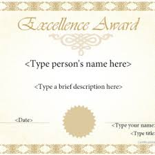 elegant certificate of excellence template sample with blue border