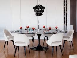 Black And White Upholstered Chair Design Ideas Dining Room Contemporary Dining Room With Saarinen Black Tulip