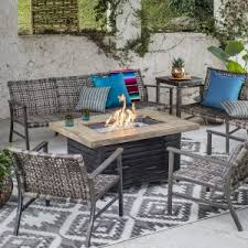 patio table with fire pit fire pit patio sets hayneedle