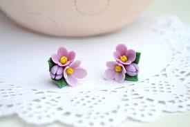 polymer clay stud earrings lilac stud earrings lilac studs flower stud earrings