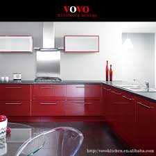 high cabinet kitchen high quality modern lacquer kitchen cabinet in glossy red on