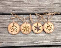 rustic let it snow wood burned ornament by thejealouspen on etsy