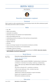 Sample Resume For Maintenance Engineer by Executive Engineer Resume Samples Visualcv Resume Samples Database
