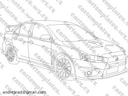 mitsubishi evo drawing mitsubishi car templates