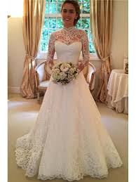key back wedding dress high neck sleeve lace wedding dress with key back